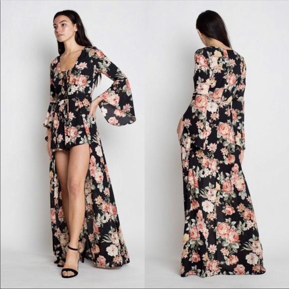 a8afa08c5a Black Floral Maxi Romper